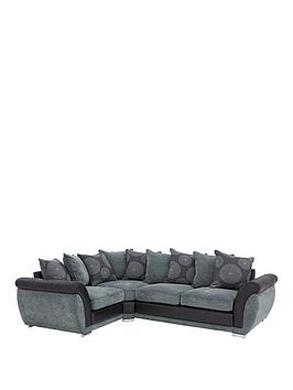 Danube Fabric And Faux Leather Left Hand Corner Group Scatter Back Sofa