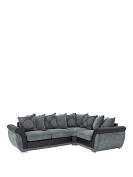 Danube Fabric And Faux Leather Right Hand Corner Group Scatter Back Sofa