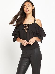 tfnc-ruffle-cold-shoulder-top