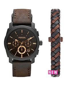 diesel-fossil-machine-watch-and-leather-cuff-mens-gift-set