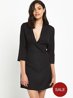 river-island-river-island-black-long-sleeved-wrap-front-dress