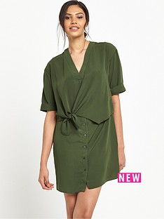 river-island-khaki-tie-front-swing-dress
