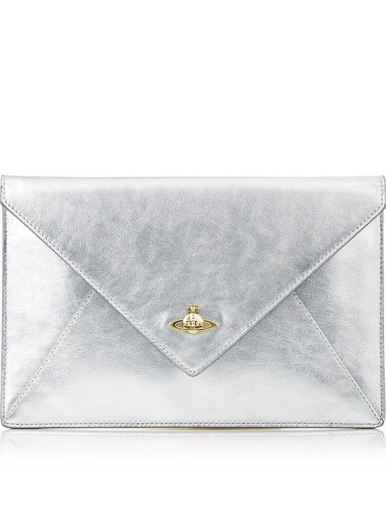 07c306c479 VIVIENNE WESTWOOD Private Envelope Clutch - Silver | very.co.uk