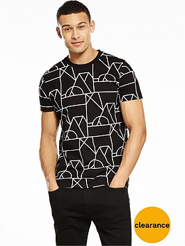 v-by-very-short-sleeve-geo-print-monochrome