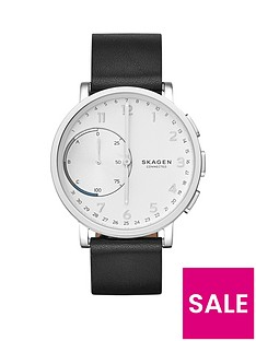 skagen-skagen-hagen-connected-silver-white-dial-leather-strap-smart-watch