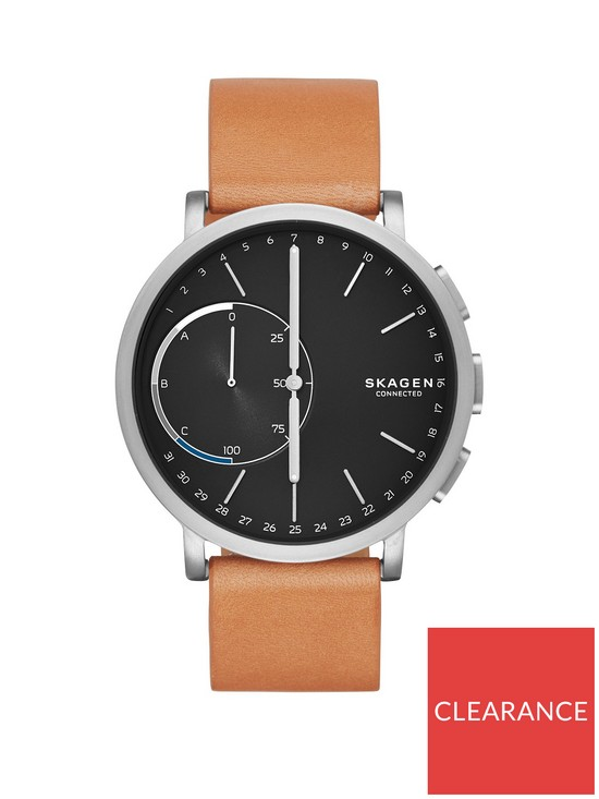 Skagen Skagen Hagen Connected Black Dial Leather Strap Smart Watch