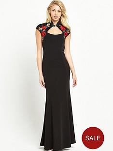 sistaglam-embroidered-mandarin-collar-maxi-dress-black