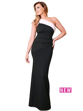 jessica-wright-one-shoulder-maxi-dress-blackwhite