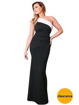 jessica-wright-one-shoulder-maxi-dress-blackwhite