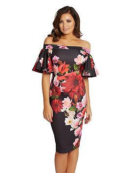 jessica-wright-bardot-floral-bodycon-dress