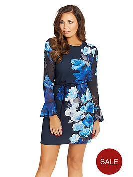 jessica-wright-long-sleeve-floral-jersey-shift-dress-with-tie-belt-blue