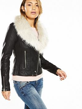 V by Very Faux Leather Biker Jacket with Faux Fur Collar | very.co.uk
