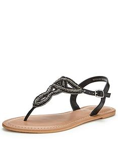 v-by-very-melody-embellished-toepost-sandal-black