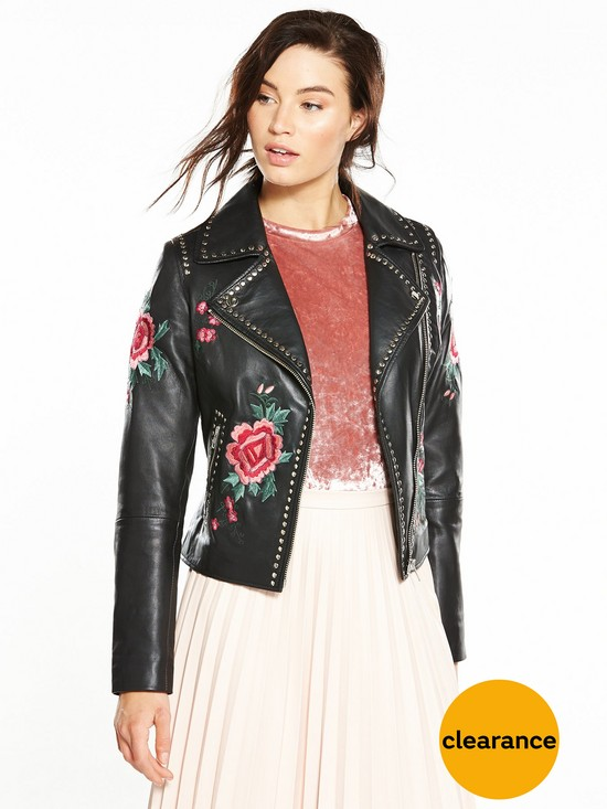 V by Very Embroidered And Stud Leather Jacket   very.co.uk