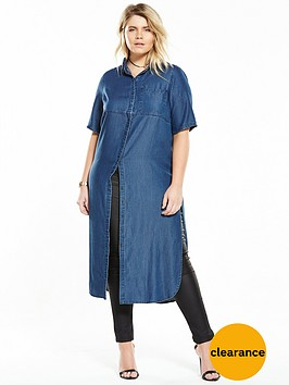 v-by-very-curve-long-line-soft-denim-short-sleeve-shirt