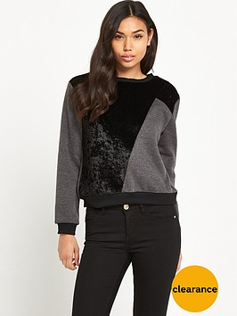 glamorous-faux-suede-patch-jumper-black