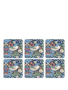 pimpernel-strawberry-thief-blue-coasters-ndash-set-of-6