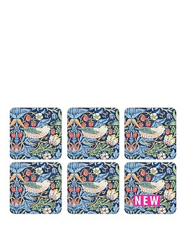 pimpernel-strawberry-thief-blue-coasters-set-of-6