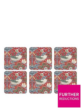 pimpernel-strawberry-thief-red-coasters-ndash-set-of-6