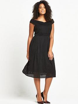 lost-ink-curve-lost-ink-curve-bardot-skater-dress-with-cutwork-skirt
