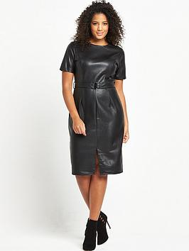 lost-ink-curve-pu-pencil-dress-black