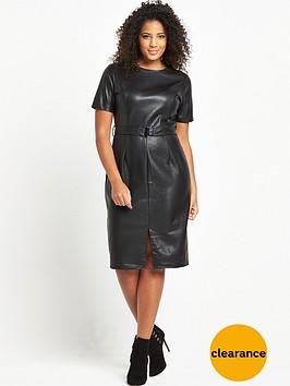 lost-ink-curve-pu-pencil-dress-black