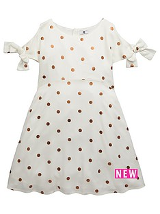 v-by-very-girls-copper-polka-dot-dress