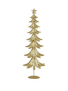 gisela-graham-gold-glitter-tin-christmas-tree-ornament
