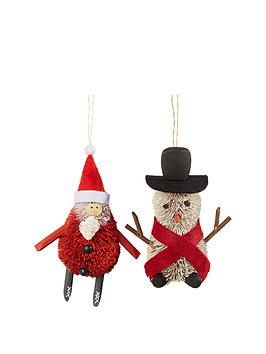 gisela-graham-bristle-santa-amp-snowman-decoration
