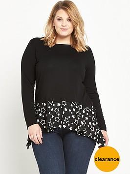 v-by-very-curve-woven-hanky-hem-jersey-top-black