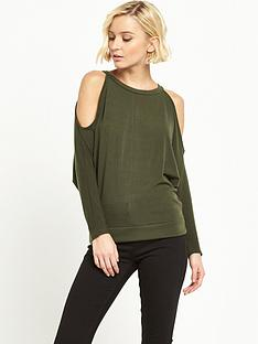 river-island-cold-shoulder-batwing-jumper-khaki