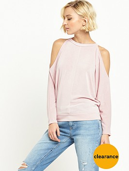 river-island-cold-shoulder-batwing-jumper-nude