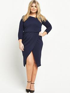 v-by-very-curve-asymmetric-2-in-1-textured-midi-dress-navy