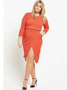 v-by-very-curve-asymmetric-2-in-1-textured-midi-dress-orange