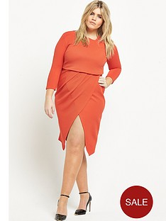 v-by-very-curve-asymmetric-2-in-1-textured-midi-dress-orange