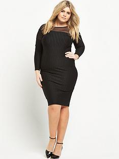 v-by-very-curve-pinstripe-mesh-panel-ponte-dress