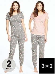 v-by-very-2-pack-feather-print-pyjama-set-greypinknbsp