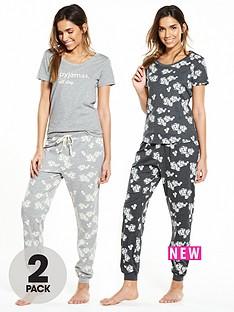 v-by-very-2-pack-floral-short-sleeve-pyjama-all-day-setnbsp