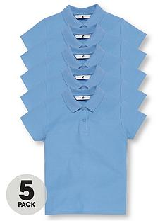 v-by-very-5-pack-girls-short-sleeve-school-polo-shirts-blue