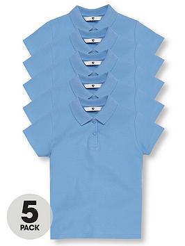 v-by-very-5-pack-girls-short-sleeve-school-polo-shirts-blue