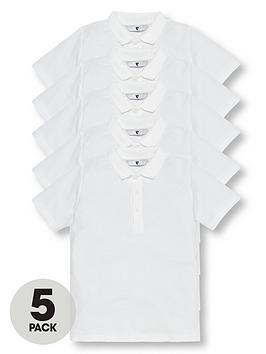 V by Very Boys 5 Pack School Polo Shirts, White, Size Age: 6-7 Years thumbnail