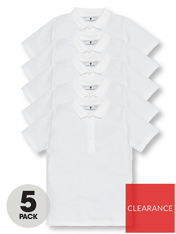 V by Very Boys 5 Pack Short Sleeve School Polo Shirts - White | very.co.uk