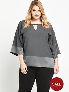 so-fabulous-satin-keyhole-blouse-grey