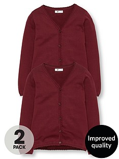 v-by-very-girls-2-pack-knitted-school-cardigans-burgundy