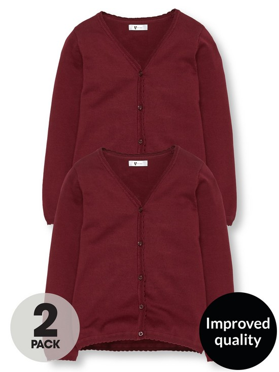 V by Very Girls 2 Pack Knitted School Cardigans - Burgundy  93a4b69ed