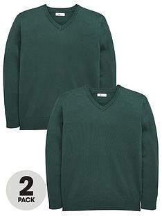 v-by-very-2-pack-v-neck-knitted-school-jumpers-green