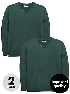 v-by-very-boys-2-pack-v-neck-knitted-school-jumpers-green