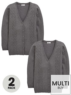 v-by-very-schoolwear-girls-cable-knit-longline-school-cardigans-grey-2-pack