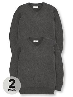 5c52a1f17c41 V by Very 2 Pack V Neck Knitted School Jumpers - Charcoal