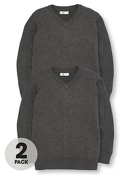 v-by-very-2-pack-v-neck-knitted-school-jumpers-charcoal